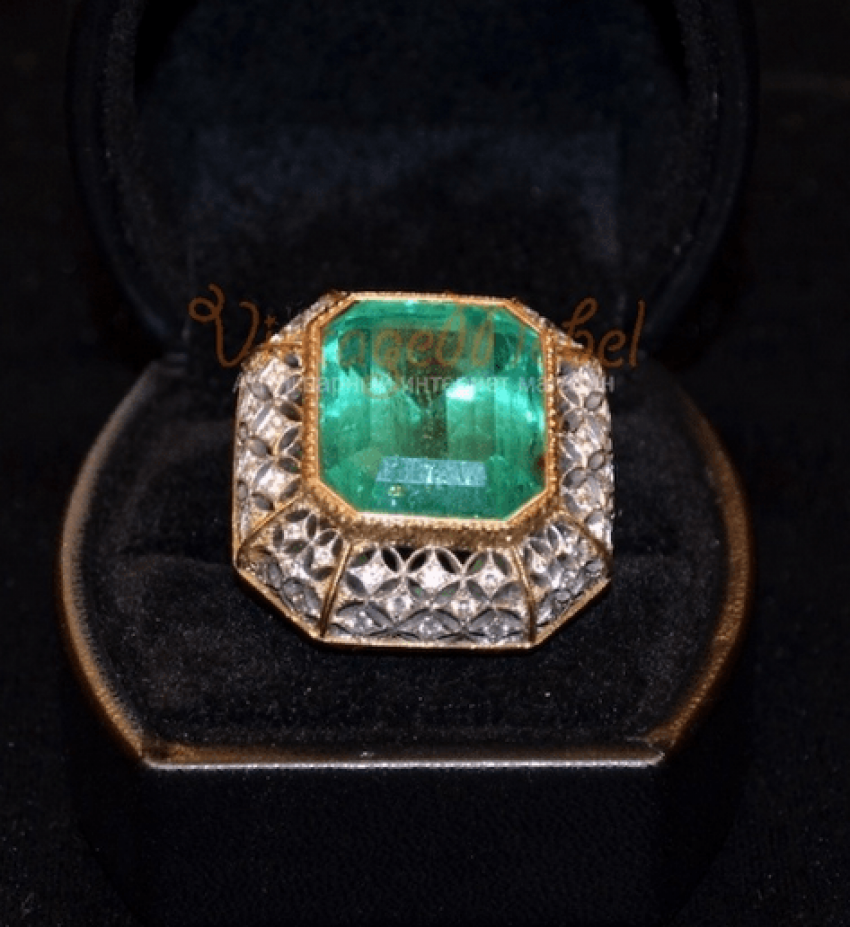 Vintage ring with emerald - photo 3