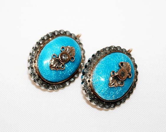 Earrings with enamel and diamonds - photo 1