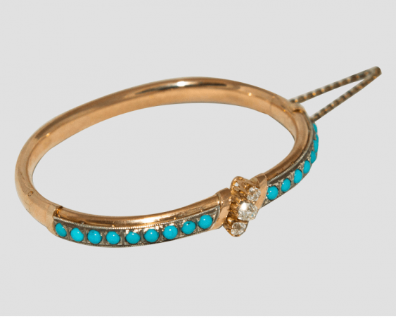 Bracelet with turquoise and diamonds - photo 1