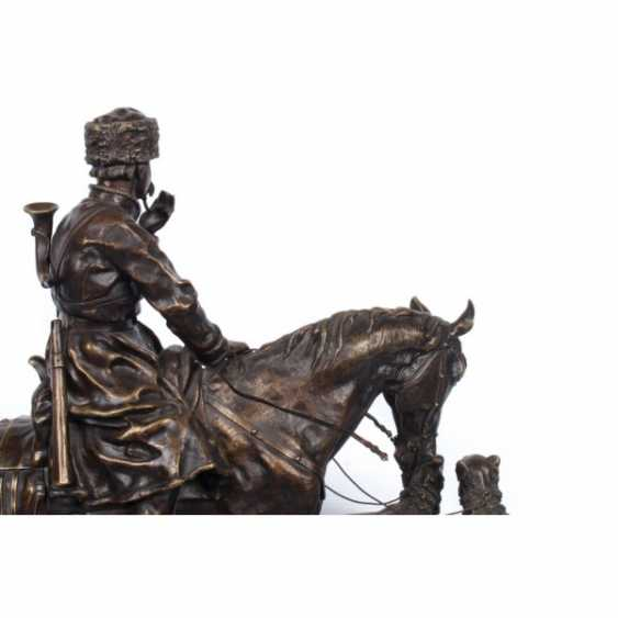 THE SCULPTURE'S RETURN FROM THE HUNT. RUSSIA, SAINT-PETERSBURG. ED. MOD. V. Y. GRACHEV. EXC. FACTORY K. F. VERFEL. A LATE 19th Century BRONZE. - photo 4