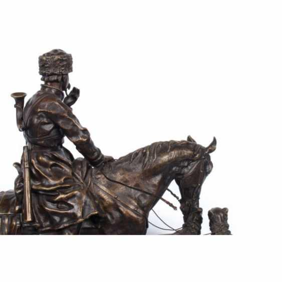 LA SCULPTURE DE RETOUR DE LA CHASSE. RUSSIE, SAINT-PÉTERSBOURG. AVT. MOD. S. I. GRATCHEV. EX. L'USINE K. F. WERFEL. La FIN du 19e Siècle en BRONZE. - photo 4