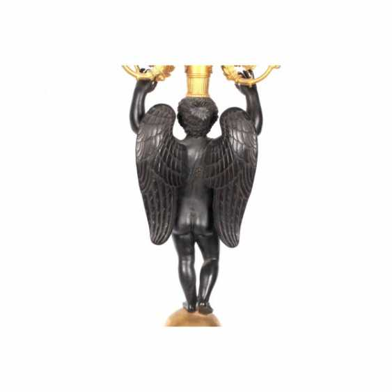 PAIR OF CANDELABRA IN THE FORM OF A FIGURE OF A WINGED GENIUS. - photo 3