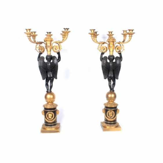 PAIR OF CANDELABRA IN THE FORM OF A FIGURE OF A WINGED GENIUS. - photo 4