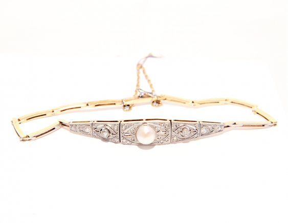Bracelet with diamonds and pearls - photo 1
