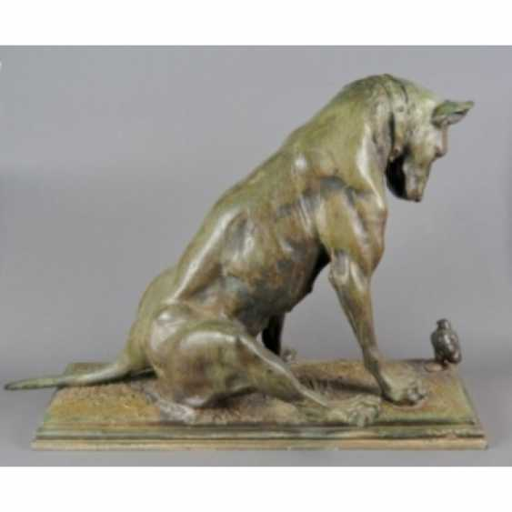 """THE SCULPTURE """"DOG WITH A CHICKEN."""" ITALY, AUTHOR ANTONIO AMORGASTI. - photo 2"""