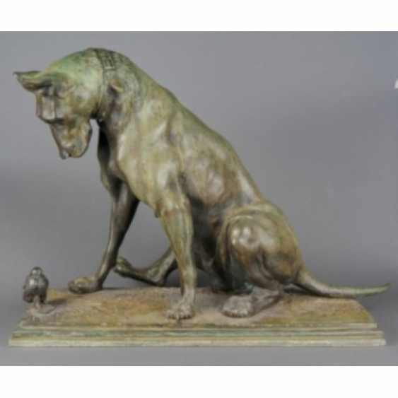 """THE SCULPTURE """"DOG WITH A CHICKEN."""" ITALY, AUTHOR ANTONIO AMORGASTI. - photo 5"""
