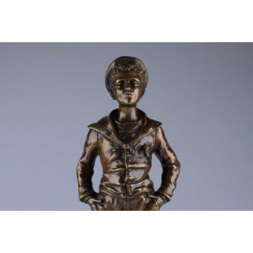 "THE SCULPTURE ""THE STUDENT"". FRANCE, PARIS, LATE 19th Century BRONZE, CASTING, PATINA. - photo 4"