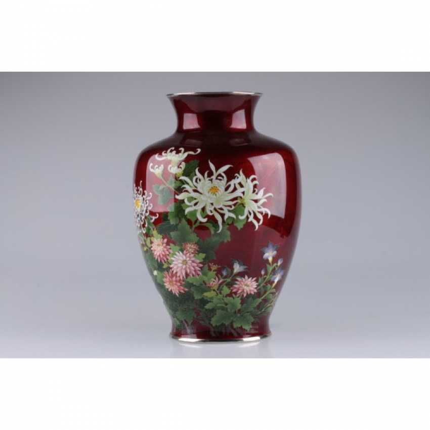 VASE WITH PICTURES OF FLOWERS. JAPAN. - photo 2