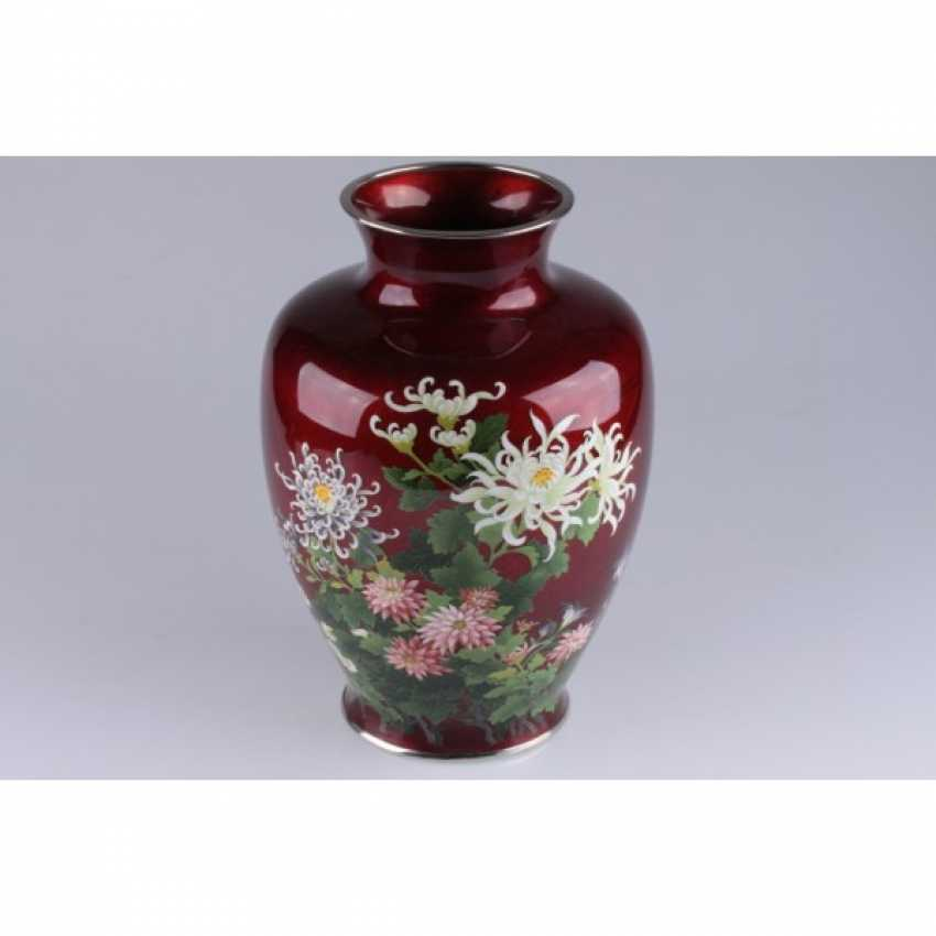VASE WITH PICTURES OF FLOWERS. JAPAN. - photo 3
