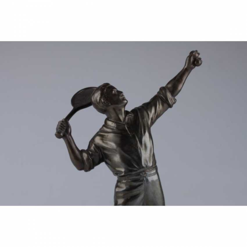 "LA SCULPTURE ""JOUEUR DE TENNIS"". FRANCE, PARIS, 1930. BRONZE, ONYX. - photo 3"