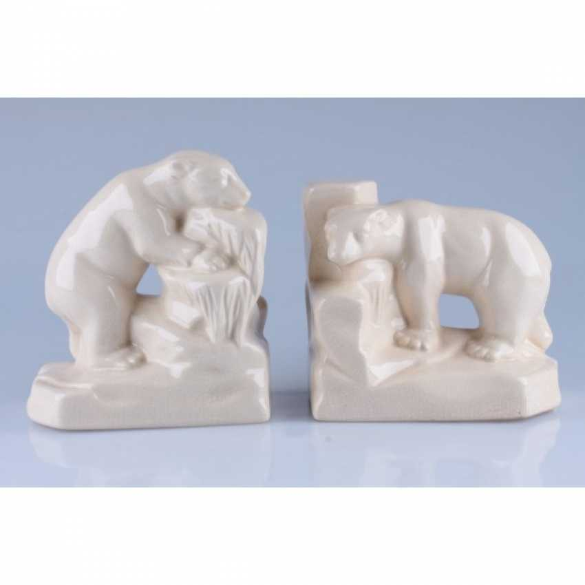 TWIN MUKENDI (BOOKENDS) IN THE FORM OF POLAR BEARS. FRANCE - photo 1