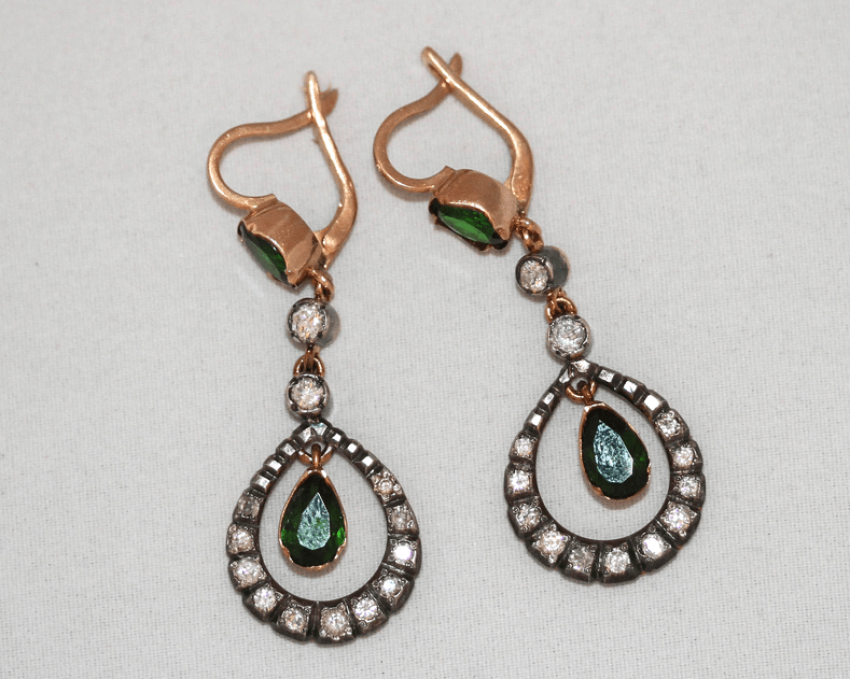 Earrings diopside and diamonds - photo 1