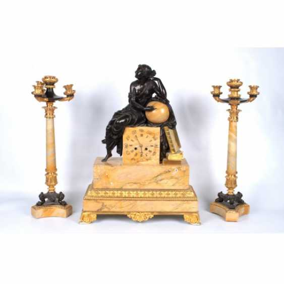 FIREPLACE TOP THREE WITH THE FIGURE OF THE MUSE URANIA. FRANCE, 19th Century - photo 1