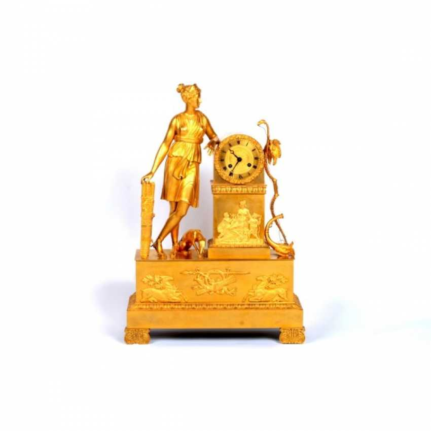 MANTEL CLOCK IN THE EMPIRE STYLE DIANA THE HUNTRESS - photo 1