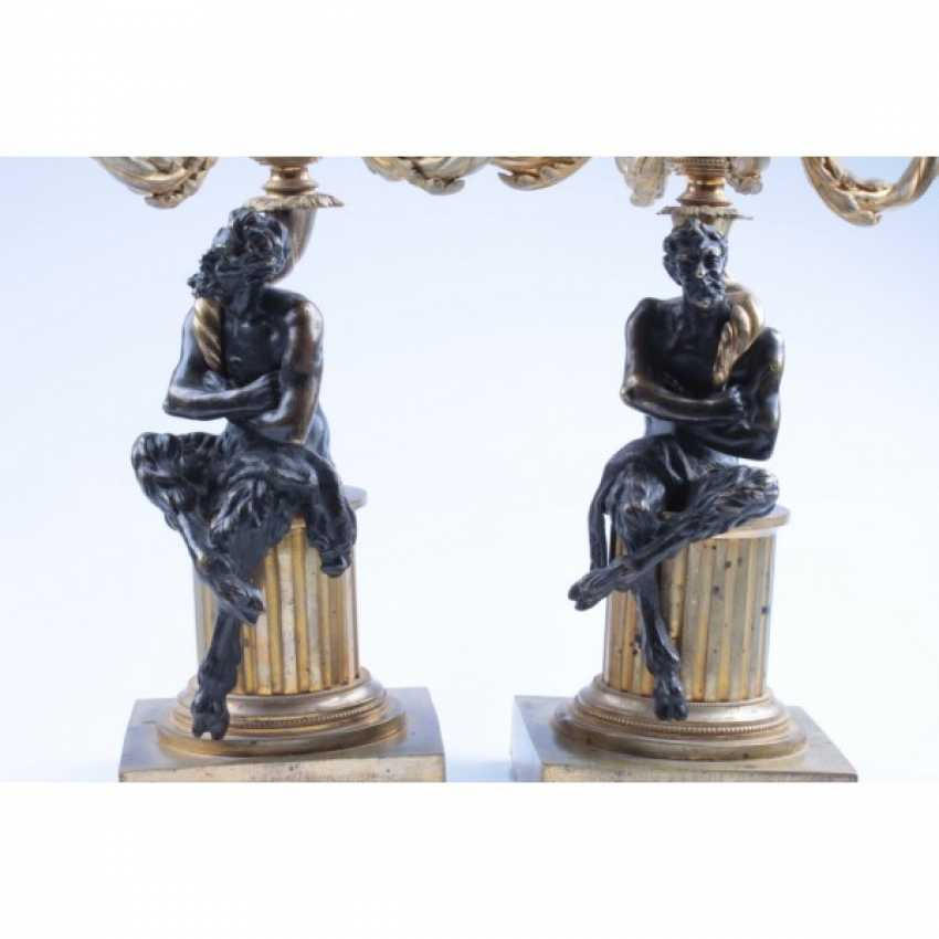 PAIR OF CANDELABRA WITH FIGURES OF FAUNS. RUSSIA, SAINT-PETERSBURG, FIRST. ODD. 19 Century BRONZE. EXAMINATION. - photo 7