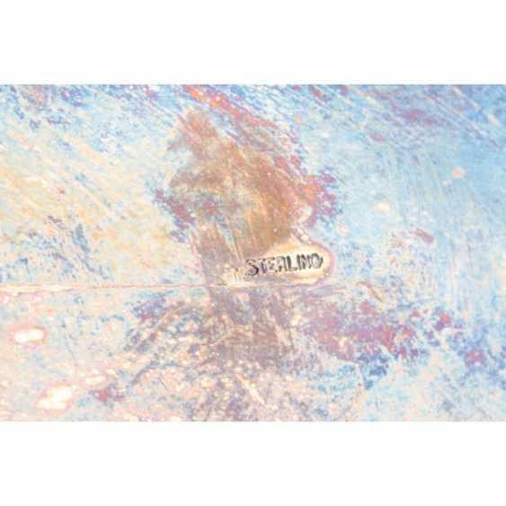 TINTENFASS MIT СКУЛЬПТУРКОЙ GÖTTIN DER GERECHTIGKEIT THEMIS. USA, BEG. 20 V. 925 Sterling SILBER, KRISTALL. - Foto 5