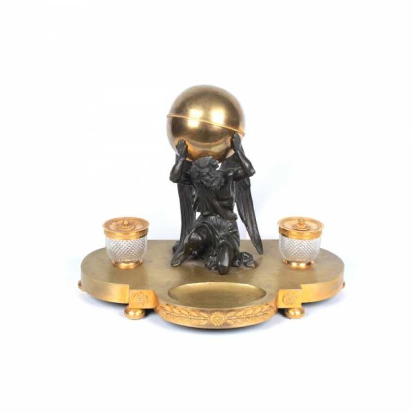 INKWELL IN EMPIRE STYLE KRONOS - GOD OF TIME. FRANCE, PARIS, 1ST HALF. 19 Century BRONZE. - photo 1