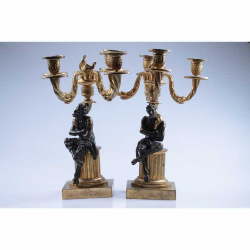 PAIR OF CANDELABRA WITH FIGURES OF FAUNS. RUSSIA, SAINT-PETERSBURG, FIRST. ODD. 19 Century BRONZE. EXAMINATION. - photo 1