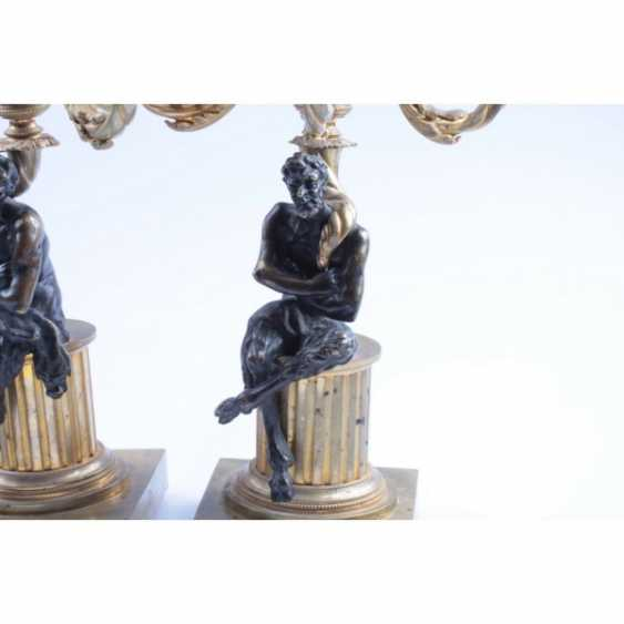 PAIR OF CANDELABRA WITH FIGURES OF FAUNS. RUSSIA, SAINT-PETERSBURG, FIRST. ODD. 19 Century BRONZE. EXAMINATION. - photo 5