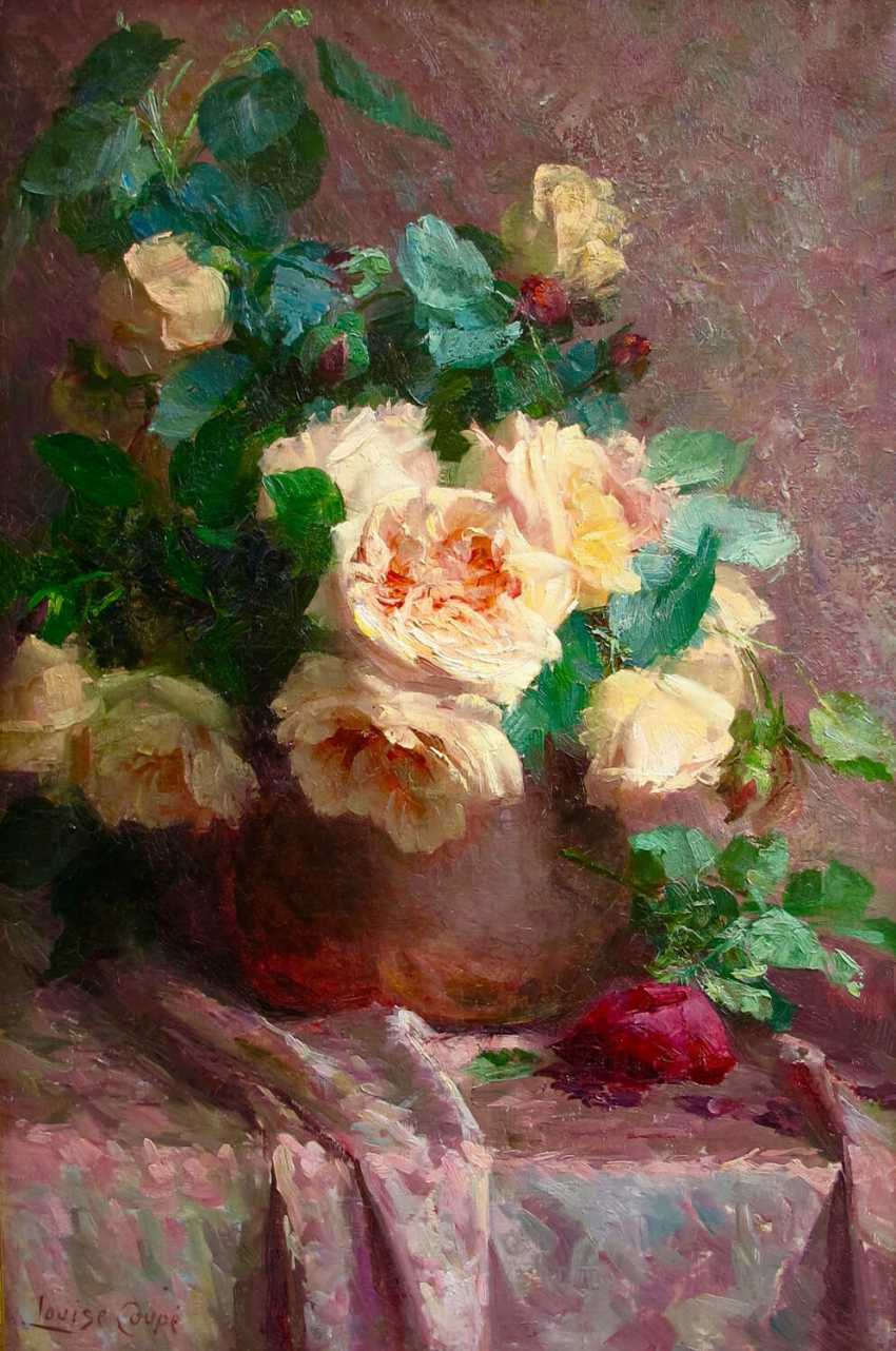 """The painting """"Tea roses in a vase"""" (Louise Coupe, oil) - photo 1"""