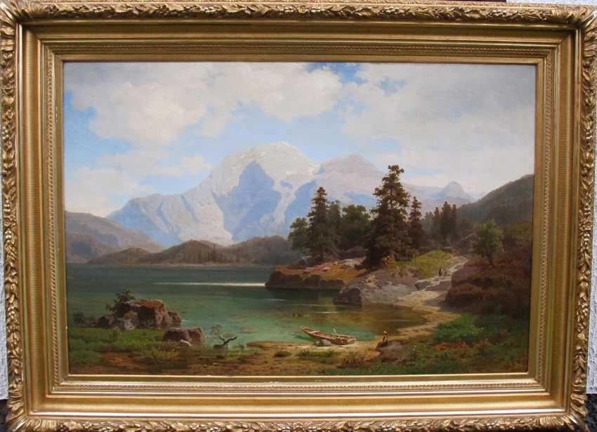 "The picture ""Alpine landscape with a lake"" (Ernst von Raven) - photo 1"
