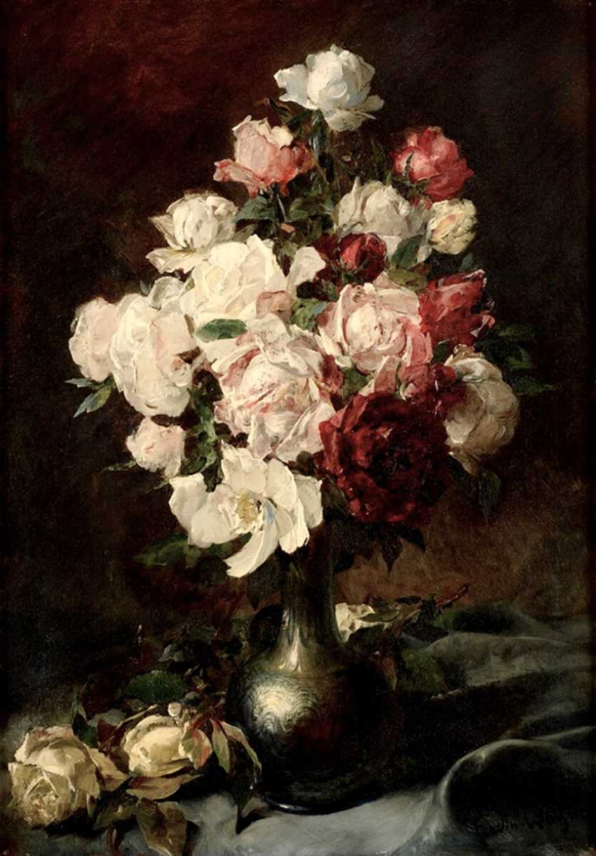 Das Bild «Stillleben mit weißen Rosen» (Ferdinand Wagner) - Foto 1