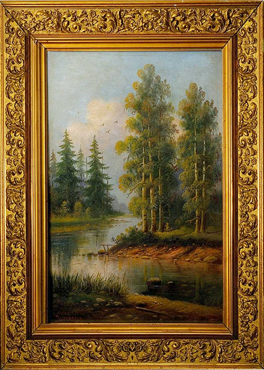 "Painting ""Forest river"" (Ducommun, XIX century) - photo 1"