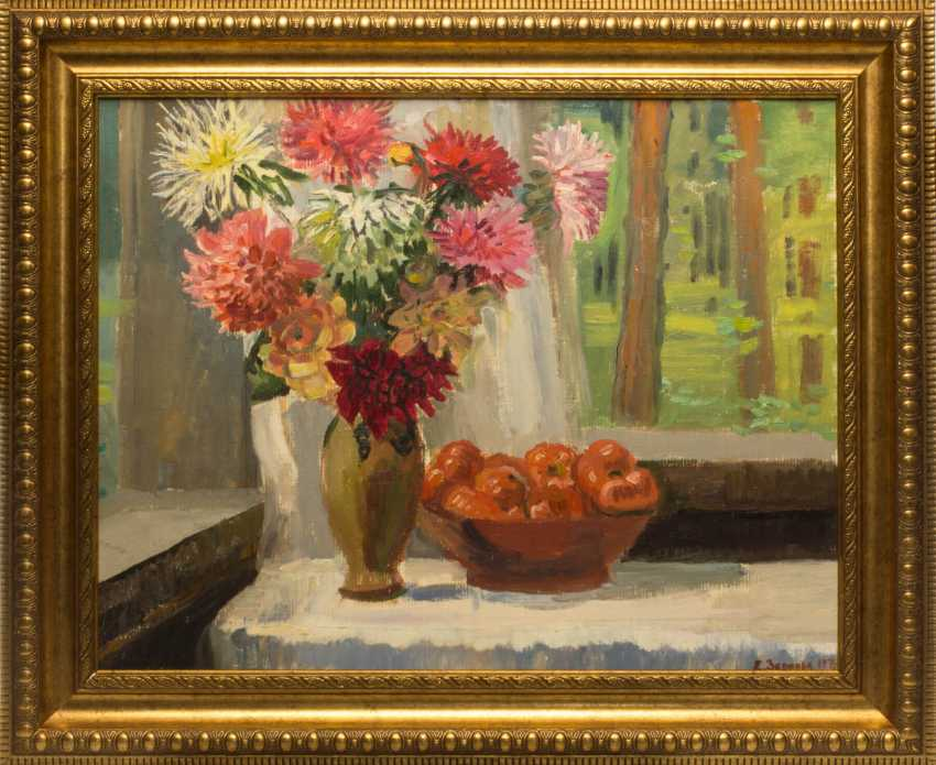 """The painting """"still life with bouquet"""" (E. S. Zernova) - photo 1"""