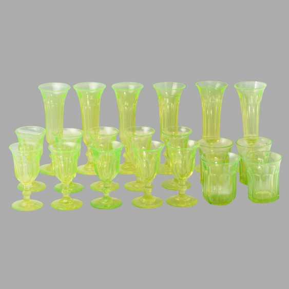 A set of uranium glass (10 glasses, 4 cups, 6 wine glasses) - photo 1