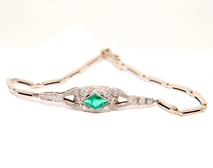 Bracelet with emeralds and diamonds - photo 1