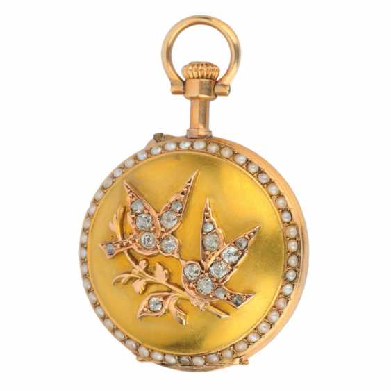 "Watch-pendant ""Two birds"" made of gold with diamonds and freshwater pearls - photo 1"
