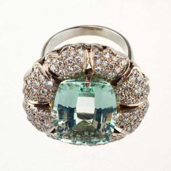 Ring white gold with aquamarine and diamonds - photo 1