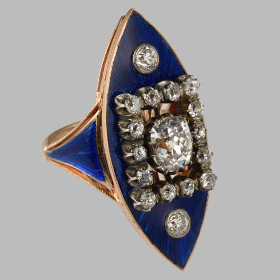 """Ring in the form of """"Marquis"""" in blue enamel and diamonds - photo 1"""