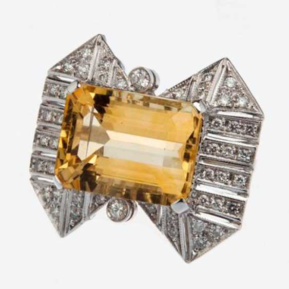 Ring with citrine and diamonds - photo 1