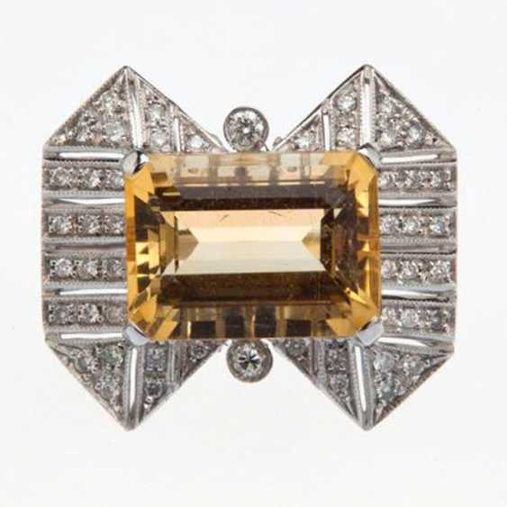 Ring with citrine and diamonds - photo 2