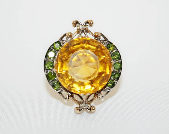 Ring with citrine with tourmalines and diamonds - photo 2