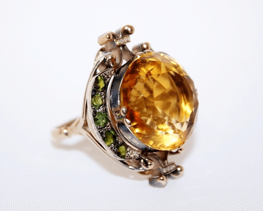 Ring with citrine with tourmalines and diamonds - photo 1