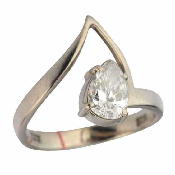 """Ring white gold with diamond """"drop"""" - photo 1"""