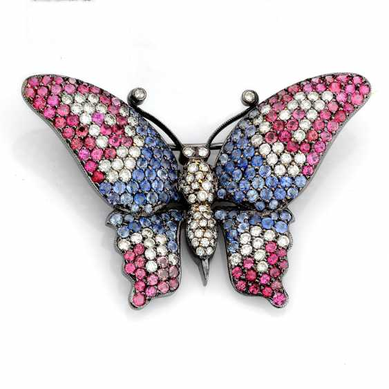 """Brooch """"Butterfly"""" with sapphires, rubies and diamonds - photo 1"""