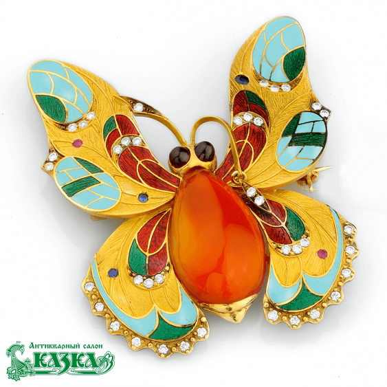 "Brooch ""Butterfly"" from a polychrome enamel and carnelian - photo 1"