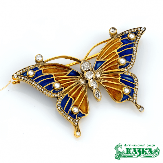 "Brooch ""Butterfly"" stained glass enamel - photo 1"