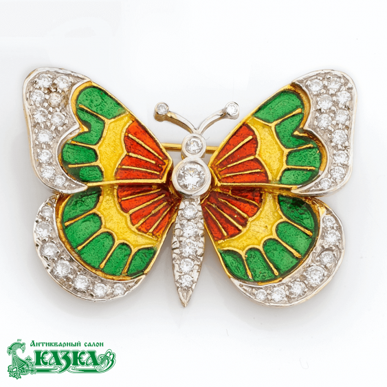 """Brooch """"Butterfly"""" with multicolor enamel and diamonds - photo 1"""