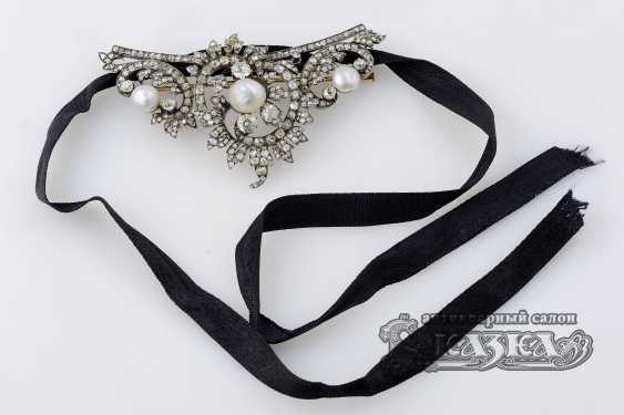 Brooch-pendant in the Rococo style with diamonds and pearls - photo 1