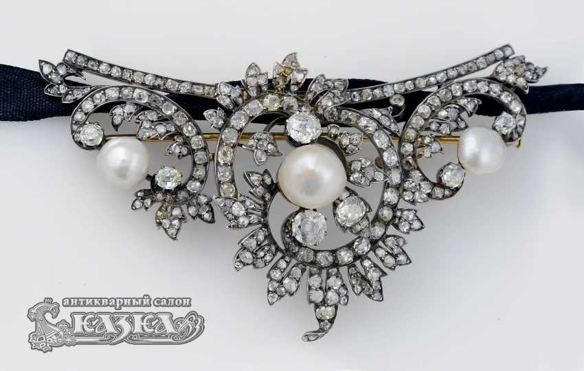 Brooch-pendant in the Rococo style with diamonds and pearls - photo 2