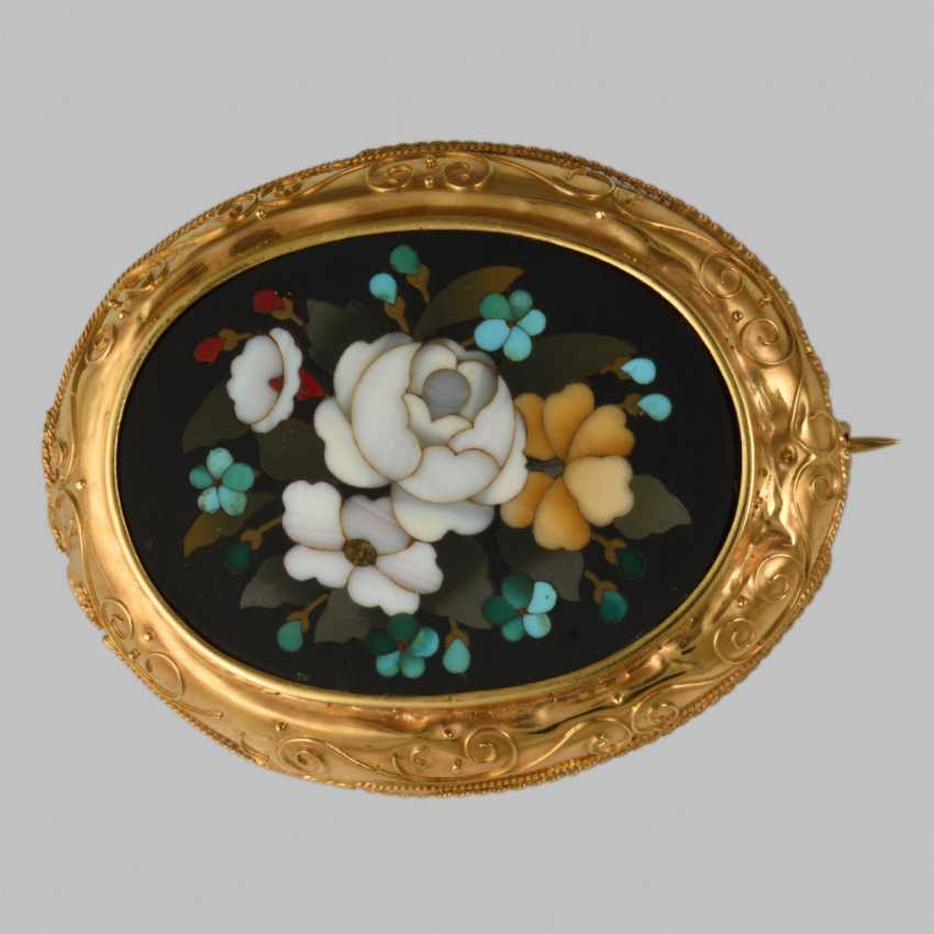 The brooch with the mosaic of natural stones - photo 1