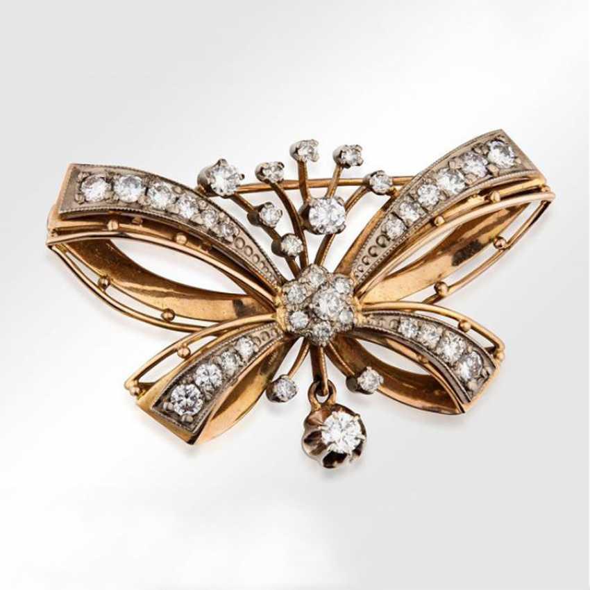 Brosche «Schmetterling» aus Gold mit Diamanten - Foto 1
