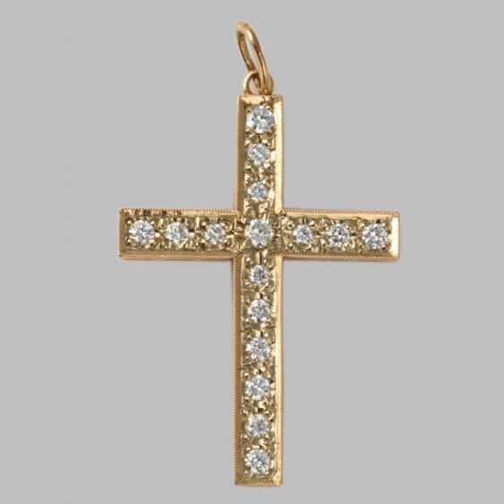 Cross pendant with diamonds - photo 1