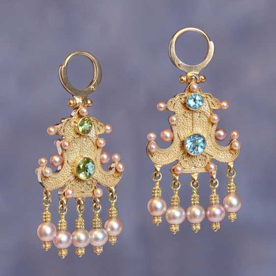 """Gold double sided earrings """"Cabbage rolls"""" - photo 1"""