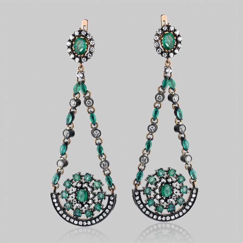 Earrings pendants made of gold with natural emeralds and diamonds - photo 1