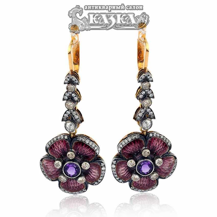 Earring pendants with amethyst guilloche enamel - photo 1